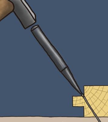 Position du clou en biais pour clouer le parquet
