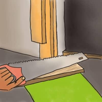 ébrasement de porte est également coupé