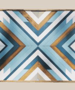 tableau mural bois bleu